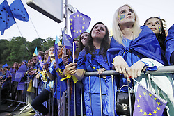 June 10, 2017 - Kiev, Ukraine - Ukrainians with the EU flags in hands and painted faces attend a concert dedicated to liberalize the visa regime of Ukraine with the European Union, in Kiev, Ukraine, on 10 June 2017. Ukraine celebrates visa-free travel to Europe as a waiver agreed with the EU enters into force on 11 June. (Credit Image: © Serg Glovny via ZUMA Wire)