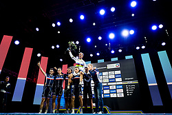 September 22, 2017 - Bergen, NORWAY - 170922 Benoit Cosnefroy of France celebrates with his teammates during the award ceremony after the Men Under 23 Road Race on September 22, 2017 in Bergen..Photo: Jon Olav Nesvold / BILDBYRN / kod JE / 160026 (Credit Image: © Jon Olav Nesvold/Bildbyran via ZUMA Wire)