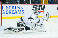 KELOWNA, CANADA - OCTOBER 2: Jack Campbell #1 of the Los Angeles Kings makes a save against Edmonton Oilers on October 2, 2016 at Kal Tire Place in Vernon, British Columbia, Canada.  (Photo by Marissa Baecker/Shoot the Breeze)  *** Local Caption *** Jack Campbell;