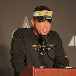 2008 August 28: Sean Payton, Head Coach of the New Orleans Saints discusses the Saints plans should the team be forced to evacuate due to the projected impact of Hurricane Gustav on Southern Louisiana. Payton announced the should a evacuation be called for the New Orleans region that the team would fly to Indianapolis where they have arranged for access to a field and hotel so that the team can prepare for their week one game against the Tampa Bay Buccaneers, slated to be played on September 7th at the Louisiana Superdome in New Orleans, LA.