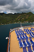 French Polynesia, Moorea deck chairs on a deck of a cruise ship
