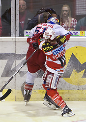 05.04.2011, Stadthalle, Klagenfurt, AUT, EBEL, FINALE, EC KAC vs EC RED BULL SALZBURG, im Bild Matthias Trattnig, (EC RED BULL SALZBURG, #51) wird von Tyler Scofield, (EC KAC, #10) gecheckt // during the EBEL Icehockey Final, EC KAC vs EC RED BULL SALZBURG at the Stadthalle, Klagenfurt, 05/03/2011, EXPA Pictures © 2011, PhotoCredit: EXPA/ J. Feichter