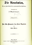 Title page from Karl Marx book 'Die revolution 1852