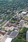 Aerial photograph of the University of Wisconsin-Milwaukee, Milwaukee, Wisconsin on an overcast summer day.