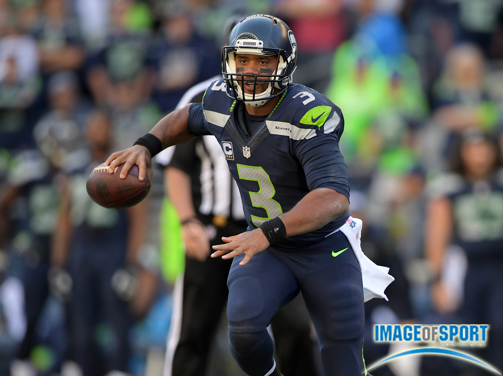 Sep 11, 2016; Seattle, WA, USA; Seattle Seahawks quarterback Russell Wilson (3) throws a pass against the Miami Dolphins during a NFL game at CenturyLink Field. The Seahawks defeated the Dolphins 12-10.