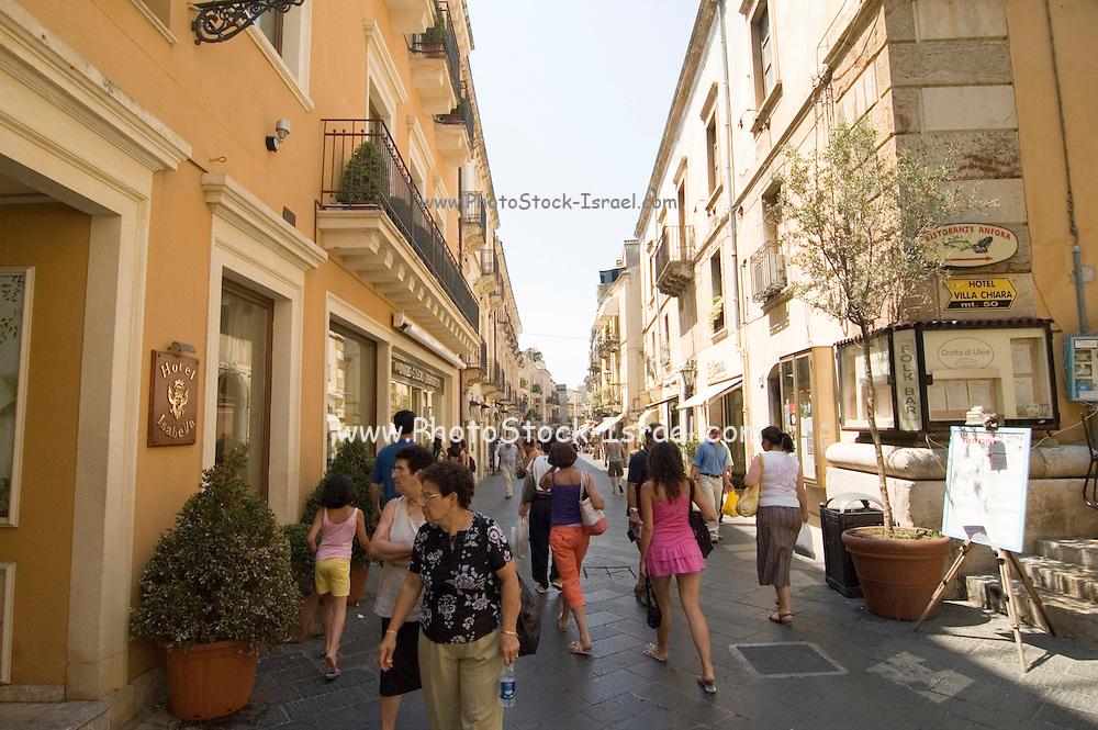 Corso Umberto, the main tourist street in Taormina, sicily, Italy, July 2006