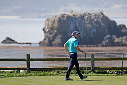 June 11, 2019 - Pebble Beach, CA, U.S. - PEBBLE BEACH, CA - JUNE 11: PGA golfer Rory McIlroy gets ready to tee off on the 18th hole during a practice round for the 2019 US Open on June 11, 2019, at Pebble Beach Golf Links in Pebble Beach, CA. (Photo by Brian Spurlock/Icon Sportswire) (Credit Image: © Brian Spurlock/Icon SMI via ZUMA Press)