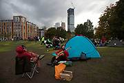 Last remaining tents and activists of the Extinction Rebellion climate camp at Vauxhall is cleared on 15th October 2019 in London, England, United Kingdom. Extinction Rebellion is a climate change group started in 2018 and has gained a huge following of people committed to peaceful protests. These protests are highlighting that the government is not doing enough to avoid catastrophic climate change and to demand the government take radical action to save the planet.