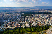 Greece, Athens, elevated view of the city as seen from  Lycabetous hill