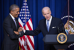 December 13, 2016 - Washington, DC, United States - VP Joe Biden tells how his son Beau Biden loved President Barack Obama, before the signing of the 21st Century Cures Act, in the South Court Auditorium of the Eisenhower Executive Office Building of the White House in Washington, DC. on December 13, 2016. The legislation eases the development and approval of experimental treatments and reforms federal policy on mental health care. (Credit Image: © Cheriss May/NurPhoto via ZUMA Press)