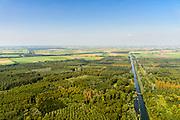 Nederland, Flevoland, Zeewolde, 23-08-2016; Harderbos, nieuw aangelegd bos in Flevoland<br /> Harderbos, newly designed forest in the new polder Flevoland.<br /> aerial photo (additional fee required);<br /> copyright foto/photo Siebe Swart