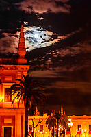 Full moon on Good Friday of Holy Week (Semana Santa), Seville, Andalusia, Spain.