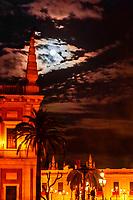 Full moon on Good Friday of Holy Week (Semana Santa), Seville, Andalusia, Spain.