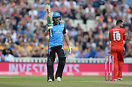 Ben Cox of Worcestershire Rapids raises his bat on reaching his half century during the Vitality T20 Finals Day Semi Final 2018 match between Worcestershire Rapids and Lancashire Lightning at Edgbaston, Birmingham, United Kingdom on 15 September 2018.