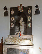 Memorial monument by Nicholas Stone for Arthur and Elizabeth Coke, church of Saint Andrew, Bramfield, Suffolk, England, UK who died 1629 and 1627 in childbirth
