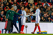 England Manchester United midfielder Jesse Lingard (20) comes on for the injured England Crystal Palace on loan from Chelsea Ruben Loftus-Cheek (10)  during the International Friendly match between England and Brazil at Wembley Stadium, London, England on 14 November 2017. Photo by Simon Davies.