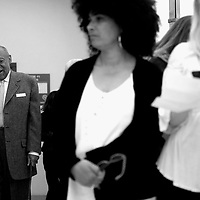 NORRISTOWN, PA - APRIL 12: Bill Cosby walks towards the courtroom after a break beside (L-R) accuser Lili Bernard grief counselor and Caroline Heldman in the Montgomery County Courthouse on the fourth day of his sexual assault retrial on April 12, 2018 in Norristown, Pennsylvania. A former Temple University employee alleges that the entertainer drugged and molested her in 2004 at his home in suburban Philadelphia. 60 women have accused the 80 year old entertainer of sexual assault. (Photo by Mark Makela/Getty Images)