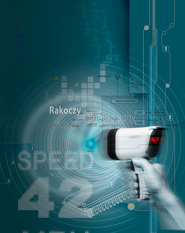 An illustration of a hand held speed radar gun with waves and speed data superimposed onto technical background graphics.
