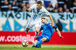 Roman Bezjak #14 of HNK Rijeka and Josip Pivaric #19 of GNK Dinamo Zagreb  during football match between HNK Rijeka and GNK Dinamo Zagreb in Round #27 of 1st HNL League 2016/17, on November 5, 2016 in Rujevica stadium, Rijeka, Croatia. Photo by Grega Valancic / Sportida