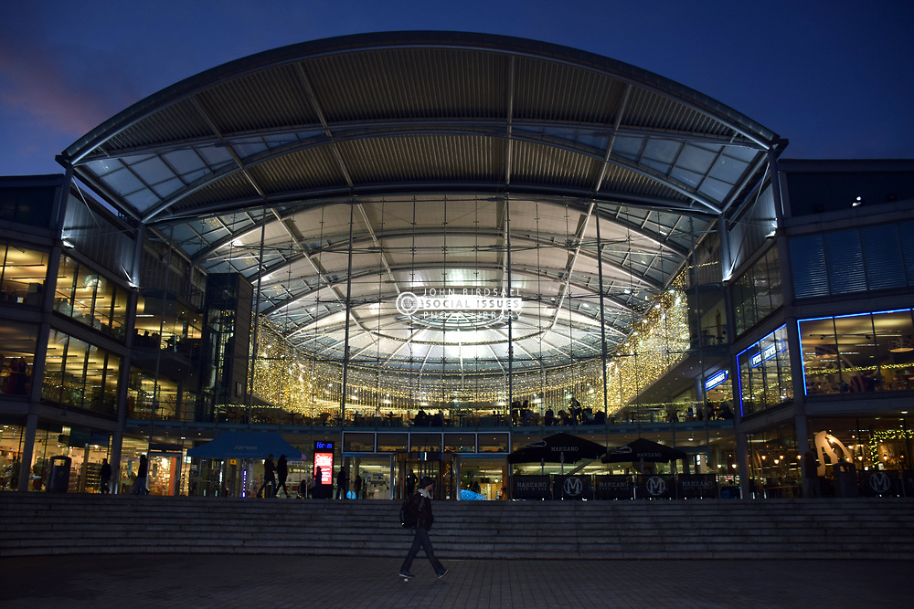 The Forum, Norwich with its Christmas lights, UK November 2019.  The Forum houses the Millennium library, BBC and restaurants