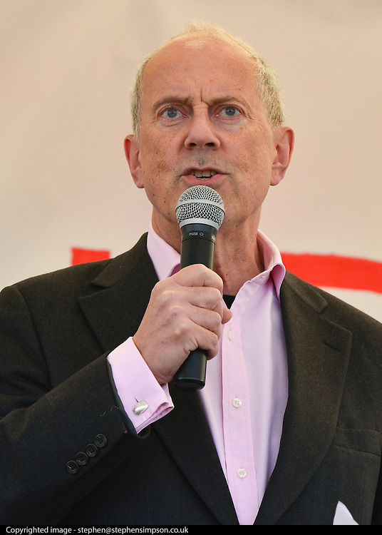 © Licensed to London News Pictures. 27/04/2013. London, UK Gyles Brandreth speaks at the rally. A rally against Heathrow expansion takes place today 27th April on Barn Elms Playing Field in Barns, West London.  The rally organised by MP Zac Goldsmith included Mayor of London, Boris Johnson, Cabinet Minister Justine Greening, and many other MPs, MEPs, Council Leaders, and campaigners as speakers. Photo credit : Stephen Simpson/LNP