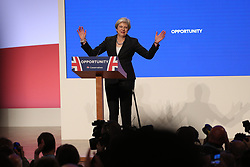© Licensed to London News Pictures . 03/10/2018. Birmingham, UK. Prime Minister THERESA MAY delivers the Leaders' speech . Day 4 of the Conservative Party conference at the ICC in Birmingham . Photo credit: Joel Goodman/LNP