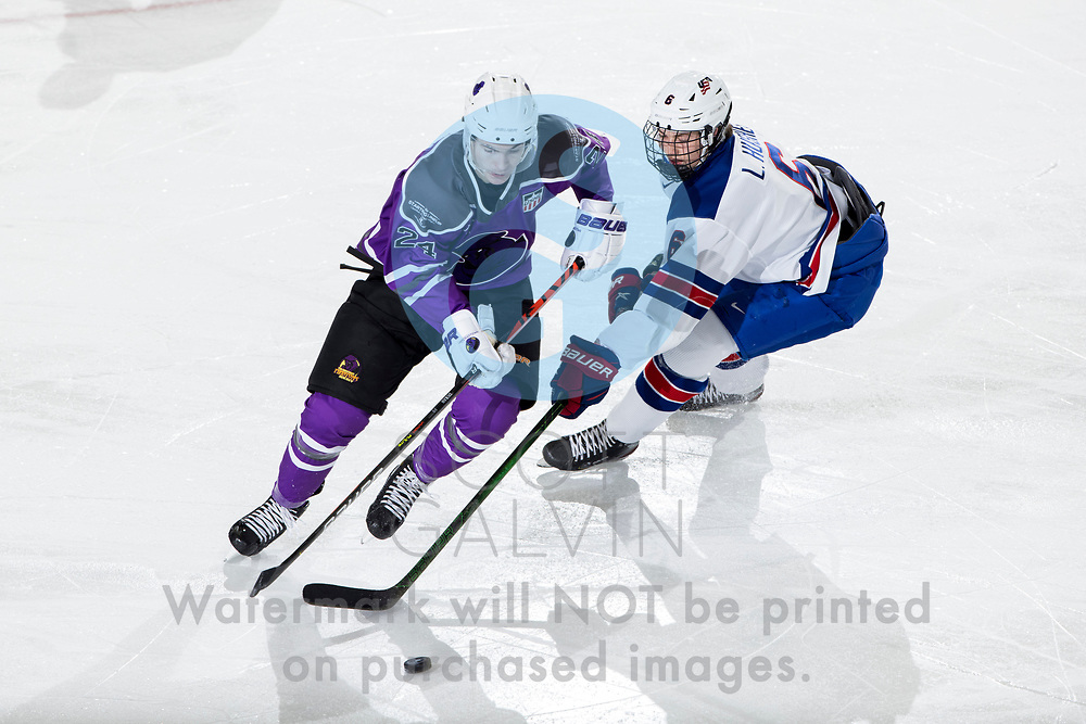 The Youngstown Phantoms defeat Team USA U-18 5-2 at the Covelli Centre on January 30, 2021.<br /> <br /> Riley Duran, forward, 24