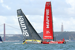 November 3, 2017 - Lisbon, Portugal - Team Brunel captained by Dutch Bouwe Bekking (L ) and MAPFRE team captained by Spanish Xabi Fernandez in action during the Volvo Ocean Race 2017-2018 In-port Race at the Tagus River in Lisbon, Portugal on November 3, 2017. (Credit Image: © Pedro Fiuza/NurPhoto via ZUMA Press)