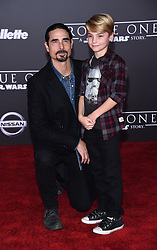 Celebrities walk the red carpet for the 'Rogue One: A Star Wars Story' world premiere held at the Pantages Theatre in Hollywood. 10 Dec 2016 Pictured: Kevin Richardson, Mason Richardson. Photo credit: American Foto Features / MEGA TheMegaAgency.com +1 888 505 6342