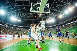 Zoran Dragic, Jaka BLazic and Alen Omic of Slovenia during qualifying match between Slovenia and Kosovo for European basketball championship 2017,  Arena Stozice, Ljubljana on 31th August, Slovenia. Photo by Grega Valancic / Sportida