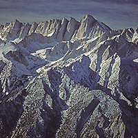 Morning light bathes the Mount Whitney massif (highest point in lower 48 states) on the crest of California's Sierra Nevada.