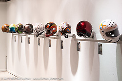Bell Helmets painted specifically for the theme of the What's the Skinny Exhibition (2019 iteration of the Motorcycles as Art annual series) at the Sturgis Buffalo Chip during the Sturgis Black Hills Motorcycle Rally. SD, USA. Friday, August 9, 2019. Photography ©2019 Michael Lichter.