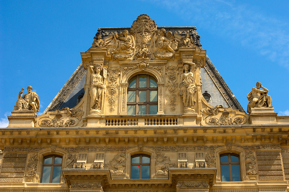 The Baroque front of the Louvre - Paris .<br /> <br /> Visit our FRANCE HISTORIC PLACES PHOTO COLLECTIONS for more photos to download or buy as wall art prints https://funkystock.photoshelter.com/gallery-collection/Pictures-Images-of-France-Photos-of-French-Historic-Landmark-Sites/C0000pDRcOaIqj8E