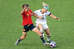 Spain's Mariona Caldentey (left) and USA's Julie Ertz battle for the ball
