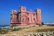 St Agatha's Red Tower fortress, Melliaha, Marfa Peninsula, Republic of Malta built 1649