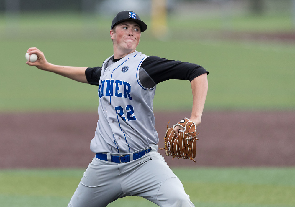 Post 307 pitcher Logan Ymker throws. Post 1 Omaha, Nebraska, played Post 307 Renner, South Dakota, in a legion baseball game at Creighton Prep on Wednesday, June 20, 2018, in Omaha, Nebraska.