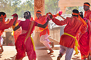 A traditional dance to celebrate the coming of sprin on the 20th January 2018  in the village of Shilpgram, Udaipur, India. Individual villages each have their own distinctive turbans both in colours and the methods of tying.