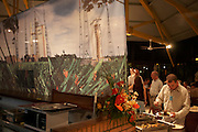 Arianespace buffet at post-launch party for European Space Agency Hughes network Systems and Lockheed Martin clients at Kourou