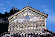 Medieval Roman Catholic cathedral church, Piazza del Duomo, Amalfi, Italy in 1998 architectural detail