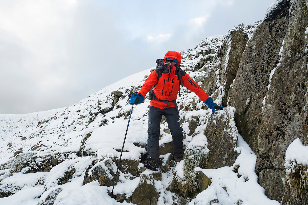 Descending on the Red Tarn side of the large impassable block (roughly 50m from the top)