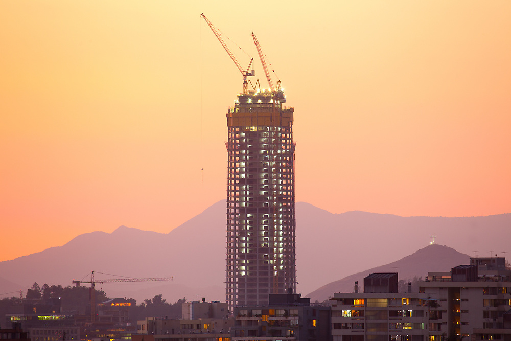 Santiago de Chile, Region Metropolitana, Chile, South America - January 20, 2011: Construction of Costanera Center, the tallest skyscraper in South America.