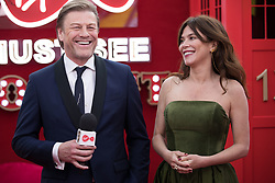 EDITORIAL USE ONLY<br /> Sean Bean and Anna Friel spill the beans to Virgin TV's red-carpet host Roman Kemp in Virgin TV's Must-See Moment Lounge at the Virgin TV British Academy Television Awards.