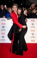 Emma Willis and Claudia Winkleman at the 25th National Television Awards, Arrivals, O2, London, UK 28 Jan 2020  photos by Brian Jordan