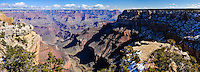 United States, Arizona, Grand Canyon. Trailview Overlook, the first lookout along the West Rim Drive with a view of Bright Angel Trail and Grand Canyon Village. Panorama view.