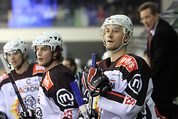Gregor Poloncic and Sabahudin Kovacevic at 39th Round of EBEL League ice hockey match between HDD Tilia Olimpija and HK Acroni Jesenice, on December 30, 2008, in Arena Tivoli, Ljubljana, Slovenia. Tilia Olimpija won 4:3. (Photo by Vid Ponikvar / SportIda).