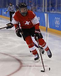 February 18, 2018 - Pyeongchang, KOREA - Switzerland defenseman Nicole Gass (8) in a hockey game between Switzerland and Korea during the Pyeongchang 2018 Olympic Winter Games at Kwandong Hockey Centre. Switzerland beat Korea 2-0. (Credit Image: © David McIntyre via ZUMA Wire)