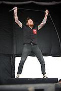 The Devil Wears Prada performing at Mayhem Fest 2012 at Verizon Wireless Amphitheater in St. Louis, Missouri on July 20, 2012.