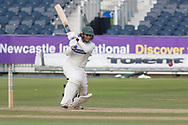 50 - Hassan Azad pulls for 4 to go to 50 during the Specsavers County Champ Div 2 match between Durham County Cricket Club and Leicestershire County Cricket Club at the Emirates Durham ICG Ground, Chester-le-Street, United Kingdom on 19 August 2019.