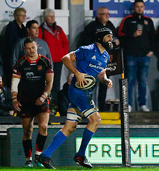 Scott Fardy of Leinster celebrates scoring his sides third try<br /> <br /> Photographer Simon King/Replay Images<br /> <br /> Guinness PRO14 Round 10 - Dragons v Leinster - Saturday 1st December 2018 - Rodney Parade - Newport<br /> <br /> World Copyright © Replay Images . All rights reserved. info@replayimages.co.uk - http://replayimages.co.uk