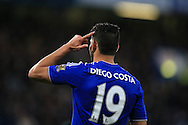 Diego Costa of Chelsea gestures. Barclays Premier league match, Chelsea v Tottenham Hotspur at Stamford Bridge in London on Monday 2nd May 2016.<br /> pic by Andrew Orchard, Andrew Orchard sports photography.